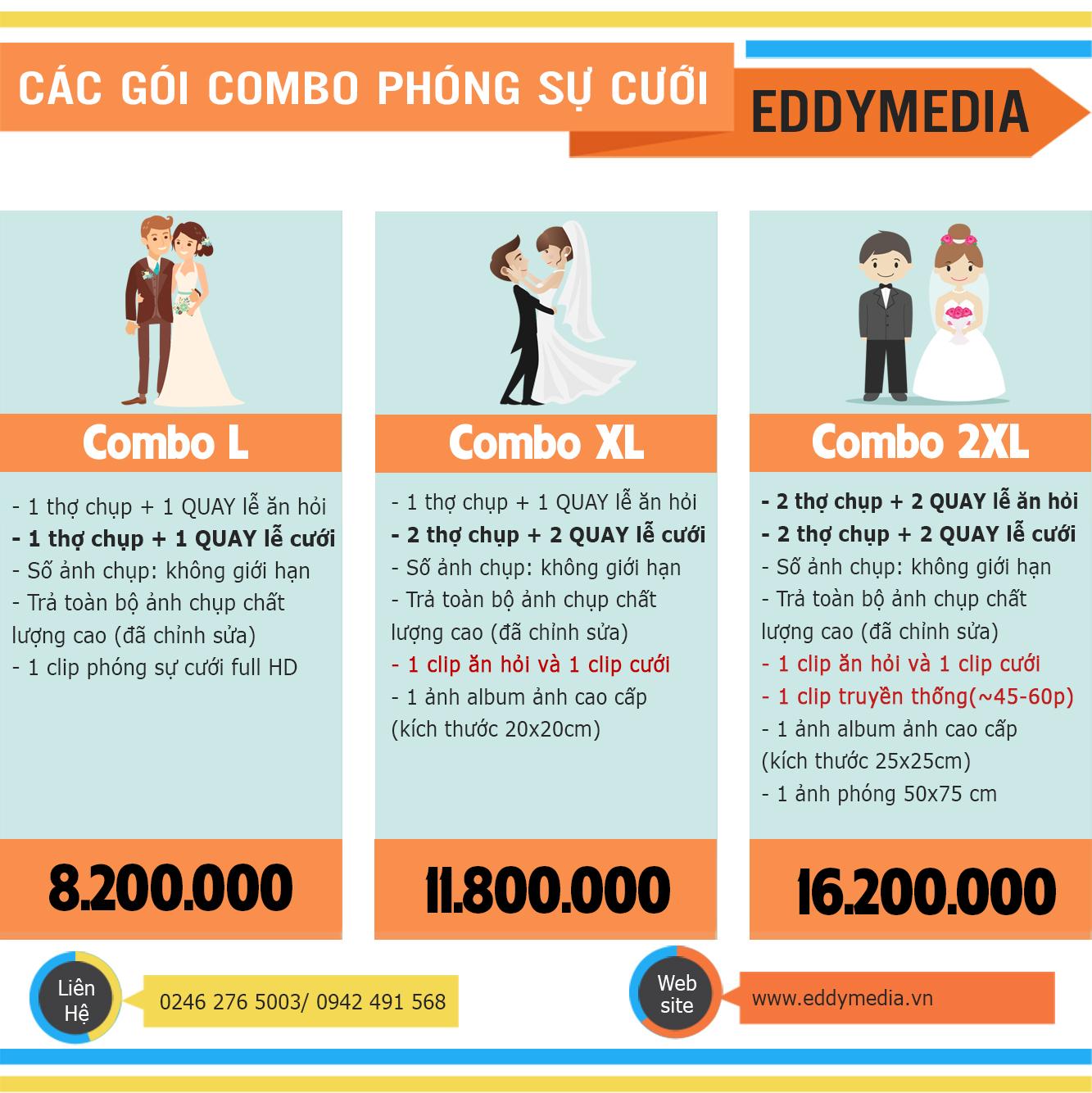 Báo giá Phóng sự cưới - so sánh combo quay chụp